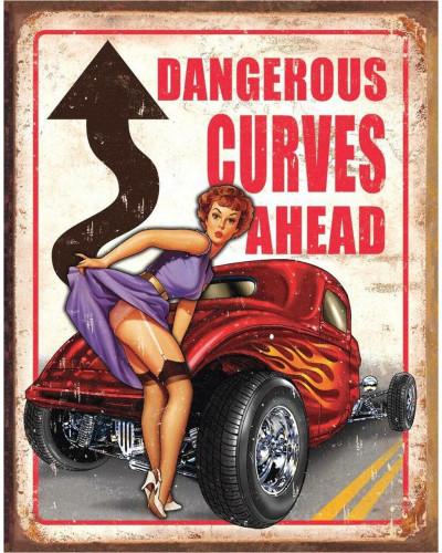 Plechová ceduľa Dangerous Curves 40 cm x 32 cm