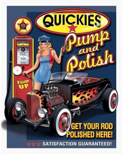 Plechová ceduľa QUICKIES Pump Polish 40 cm x 32 cm