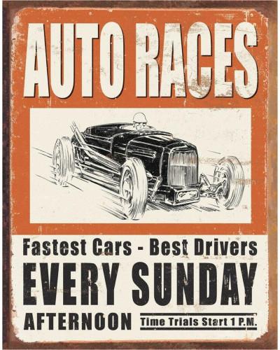 Plechová ceduľa Vintage Auto Races 32cm x 40 cm