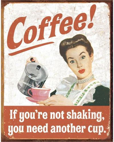 Plechová ceduľa éphémère - Coffee Shaking 40 cm x 32 cm