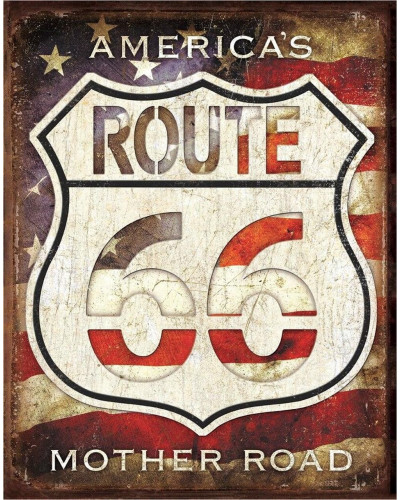 Plechová ceduľa Rt. 66 - Americas Road 32 cm x 40 cm