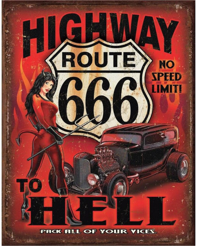 Plechová ceduľa Route 666 - Highway to Hell 32 cm x 40 cm