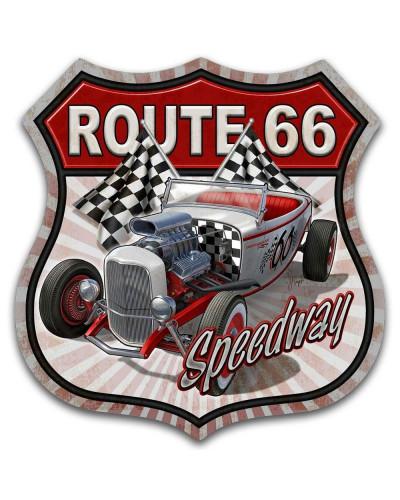 Plechová ceduľa Route 66 Speedway 30cm x 30 cm