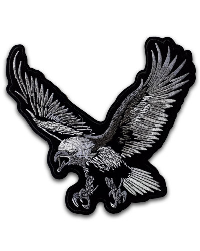 Moto nášivka orol strieborný XXL na chrbát 28 cm x 30 cm