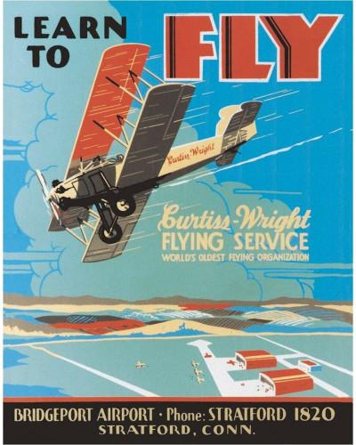 Plechová ceduľa Learn to Fly 40 cm x 32 cm